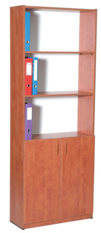 """כוננית עץ 5 מדפים פתוחה עם 2 דלתות 80 ס""""מ"""